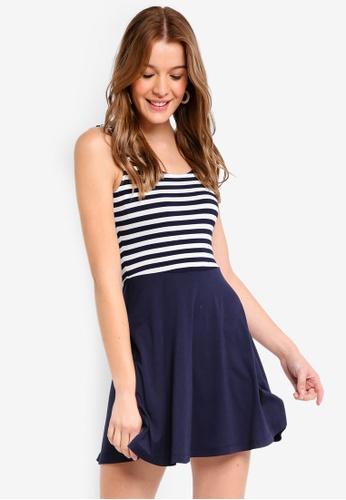 ZALORA BASICS white and navy Basic Fit and Flare Dress DD83CAA5CAA827GS_1