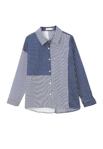 Its Me navy Fashion Color Block Striped Shirt C1D29AA05A0038GS_1