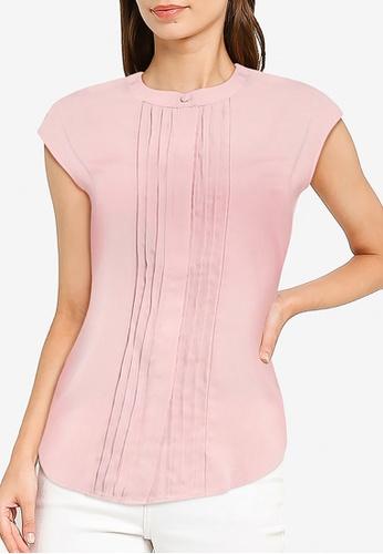 ZALORA WORK pink Cap Sleeve Blouse with Pleats EE296AAA3476CBGS_1