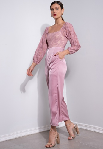 ZALORA OCCASION pink Lace Bodice Jumpsuit 00ED3AAE3BFD0BGS_1