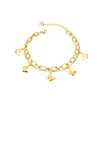 Glamorousky silver Fashion and Elegant Plated Gold Butterfly 316L Stainless Steel Double-layer Bracelet 591BDAC142BBFEGS_1
