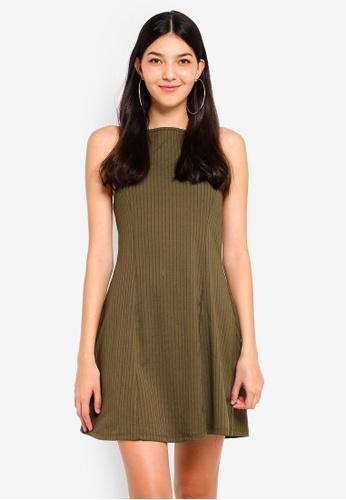 Supre green Rib Halter Flare Dress 8FFC2AA241F5BFGS_1