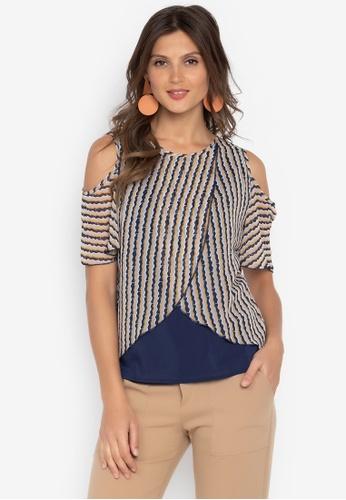 60f03349476e72 Shop Krizia Overlay Open Shoulder Blouse Online on ZALORA Philippines