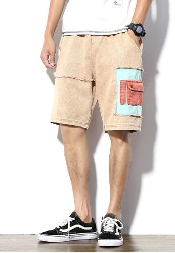 hk-ehunter 米褐色 男士中腰牛仔短褲 5179CAA472C310GS_1