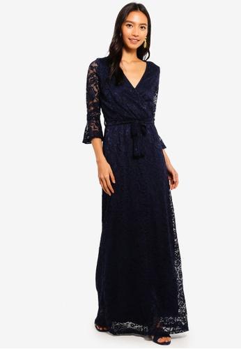 Mela London navy Lace Wrap Effect Maxi Dress 006A1AAD2B56B6GS_1