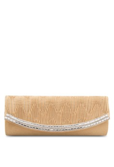 Unisa Pleated Dinner Clutch with Glittering Stones & Crystal Embellishment
