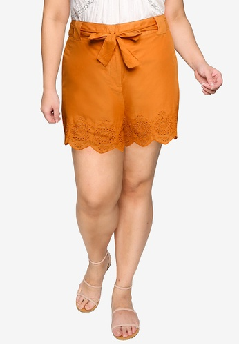 Violeta by MANGO orange Plus Size Embroidered Cotton Shorts 558AEAA812CDA2GS_1