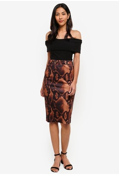 7f470c169b5 Dorothy Perkins Petite Brown Snake Pencil Skirt RM 159.00. Sizes 6 8 10 12  14