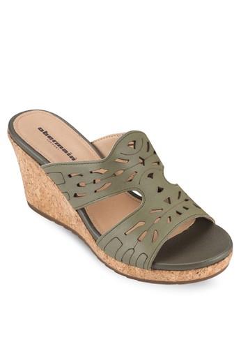 Elsa III 沖孔雕花楔型跟涼鞋zalora 鞋評價, 女鞋, 楔形涼鞋