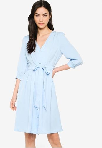 ZALORA BASICS blue Drawstring Detail Dress 3ABA4AA38E3AAFGS_1