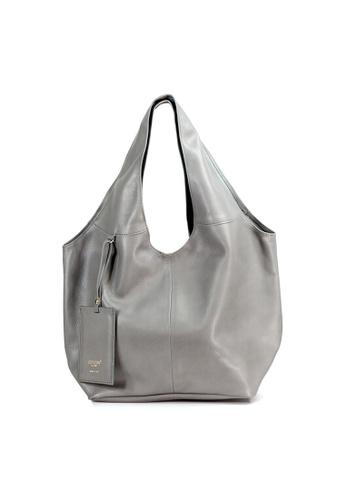 b0e8ac964aefdc Shu Talk grey Italian Made Leather Slouch Hobo Tote Bag B282CACE778A35GS_1