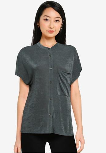 ZALORA BASICS black Stand Collar Shirt 699EBAA8C571C4GS_1