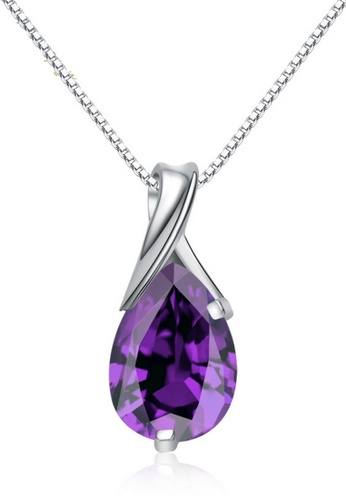 LYCKA purple and silver LPP88183 S925 Silver Necklace 08D9EACF3460D8GS_1
