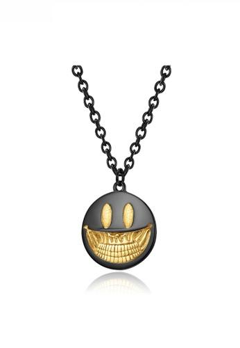 HAPPY FRIDAYS black Pop Art Devil Smile Face Pendant Necklace JW QF-DZ295 3875CACABAFE60GS_1