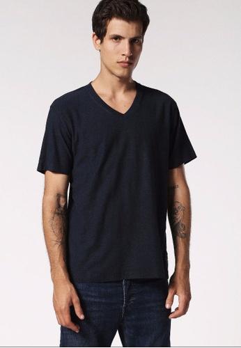 Diesel blue T-Rene V-Neck T-Shirt 3D2D1AA6EBEE3EGS_1