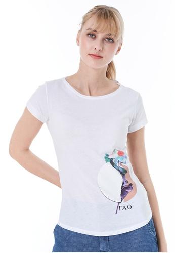 Sisley white Printed T-shirt 1C941AAAE33FE7GS_1