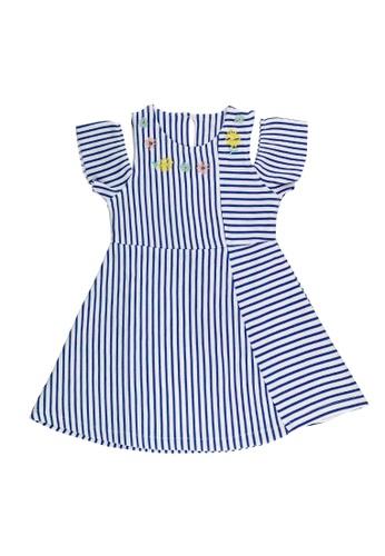 POP Shop multi Girls' Cold-Shoulder Pin Stripes Cut and Sew Dress 1452CKA202DFA3GS_1