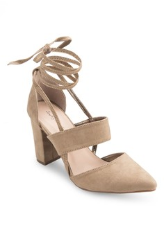 Lace Up Sueded Block Heel
