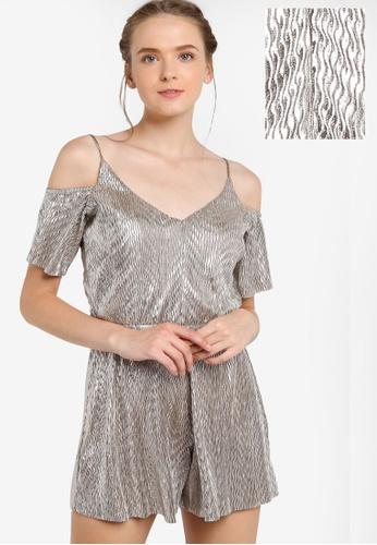 Miss Selfridge silver Metallic Plisse Cold Shoulder Playsuit MI665AA80EATMY_1