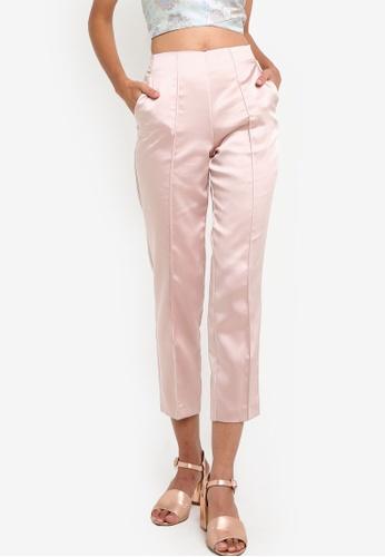 Miss Selfridge pink Satin Pintuck Suit Trousers MI665AA89BCKMY_1