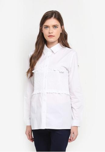 Zalia white Smocked Panel Shirt 18620AAE37836BGS_1