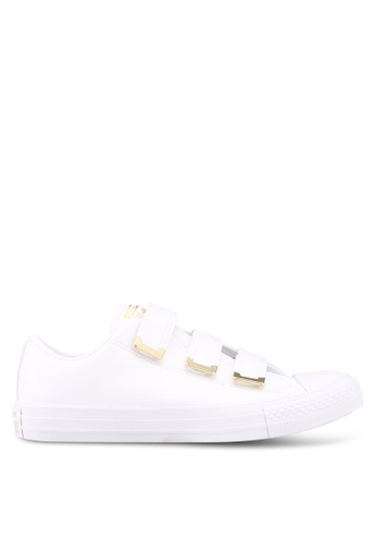 Converse white and gold Chuck Taylor All Star 3V Sneakers ADDC9SH490DCDCGS_1
