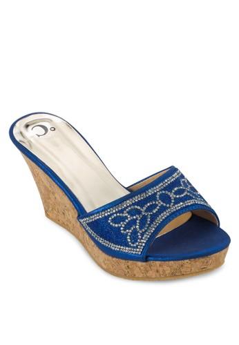 閃鑽貼esprit暢貨中心花軟楔型跟鞋, 女鞋, 楔形涼鞋