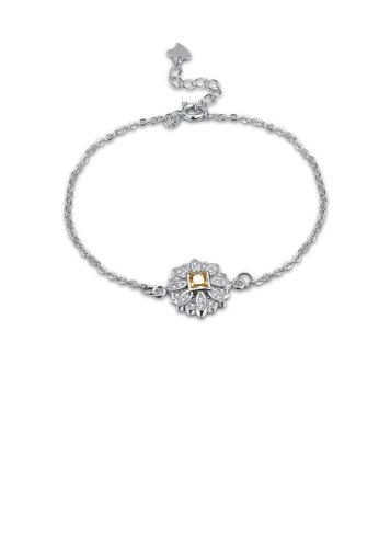 Glamorousky white 925 Sterling Silver Fashion Simple Sun Flower Bracelet with Austrian Element Crystal 55A52AC8C75368GS_1