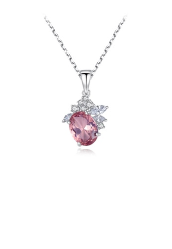 Glamorousky white 925 Sterling Silver Fashion and Elegant Geometric Pendant with Red Cubic Zirconia and Necklace BF3CFAC746DFA1GS_1