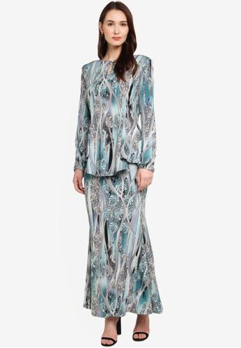 Zuco Fashion blue Midi Kurung Kebaya Peplum Style 43432AA4532B8FGS_1