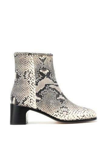 RABEANCO 黑色 and 白色 and 多色 RABEANCO ANIKA 中跟筒靴 - 蟒蛇印花壓紋 F78A0SHA1E2881GS_1