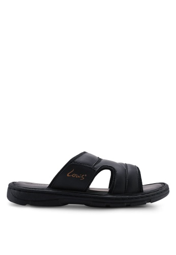 Louis Cuppers black Paneled Flat Sandals B390DSH9A4EB71GS_1