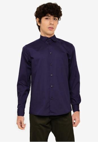 !Solid blue York Long Sleeve Shirt A9CD0AA35A0162GS_1