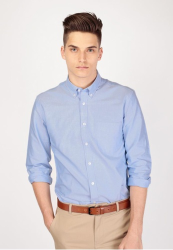 A for Arcade blue Cotton Oxford Shirt in Blue AF376AA33GNQSG_1