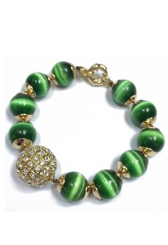 J Crew Green Stone Bead Bracelet with Pave Accent