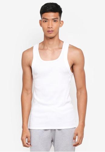 Calvin Klein white Ribbed Tank Top 70546AAED32FE7GS_1