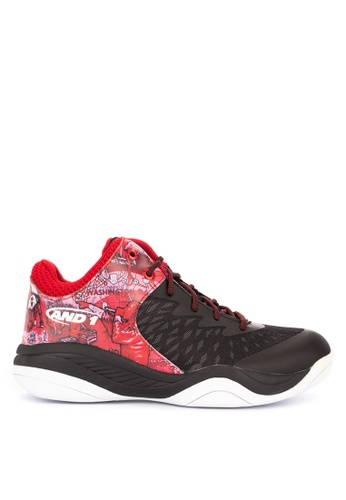 And1 black and multi Attack Mid Mixtape Edition Basketball Shoes 75A97SH8475C98GS_1