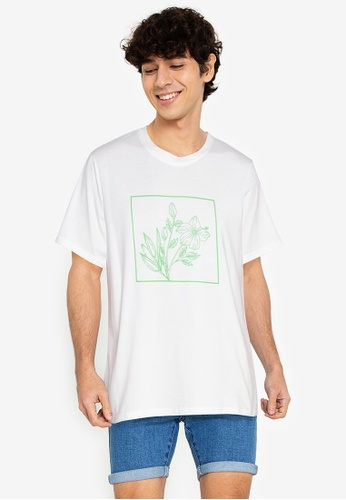 ZALORA BASICS white Floral T-Shirt 6FE1CAAC9A2EF6GS_1