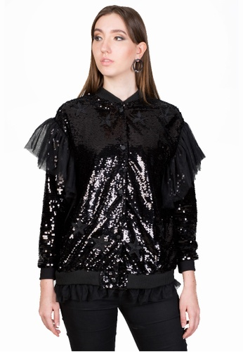 e89ad57d1 Oversized Sequin Bomber Jacket