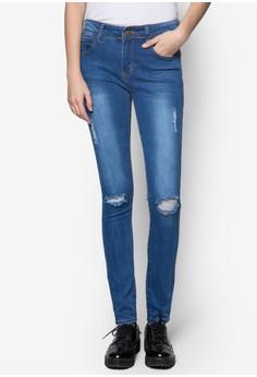 Washed Denim Distress Jeans