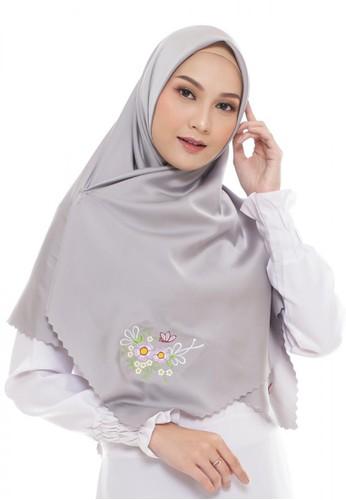 First Hijab grey Diva Square Hijab In Light Grey 7289CAA5502525GS_1
