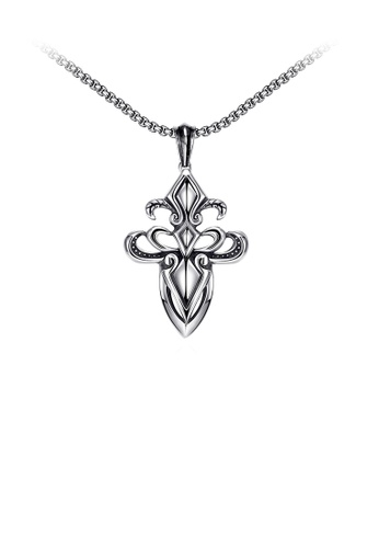 Glamorousky silver Vintage Fashion Cross Pendant with Necklace 6B58DAC77D8786GS_1