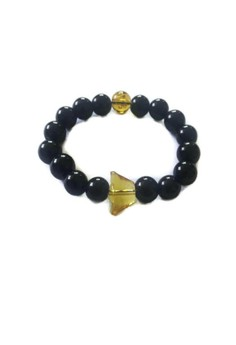 Feng Shui Black Onyx Mantra with Money Ingot Bracelet