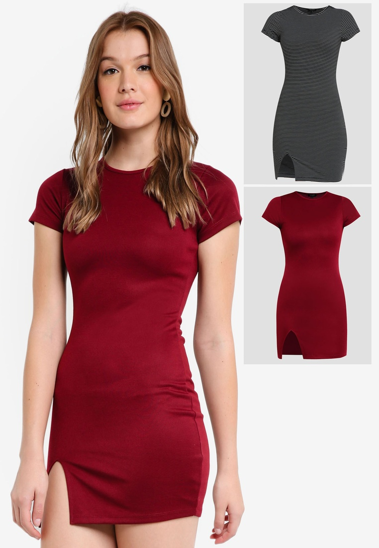 pack ZALORA Burgundy BASICS Short Black Basic Sleeves Stripe Bodycon Dress 2 White dPZwcaYqa1