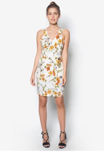 V 領削背花色zalora 心得洋裝, 服飾, 洋裝