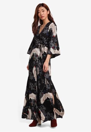 ZALORA black and multi Studio Printed Wrap Maxi Dress 0214AAA0089DC3GS_1