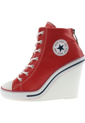 Maxstar 紅色 新款韩国鞋777-BZ-TC時尚皮革布混合女紅色 US Women Size MA345SH99HAYTW_1