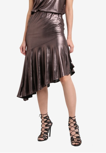 Something Borrowed multi Metallic Flare Skirt 3350BAA42679DDGS_1