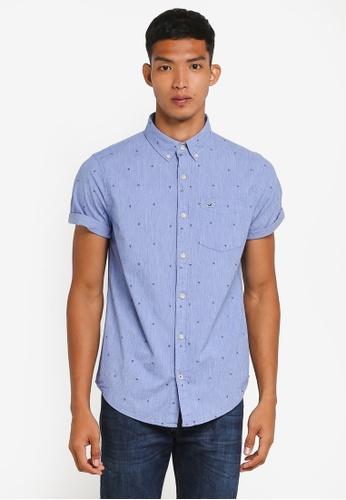 Hollister blue Short Sleeve Poplin Shirt F6E33AA9EE6212GS_1