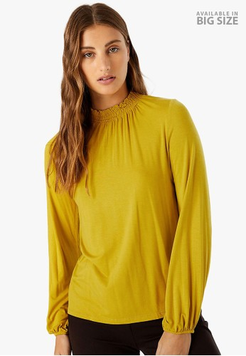 MARKS & SPENCER yellow Gathered Neck Long Sleeve Top 69D49AAEA59134GS_1